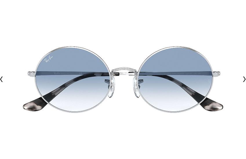 Ray-Ban RB1970 銀框淺藍色漸變鏡片 OVAL 1970 太陽眼鏡