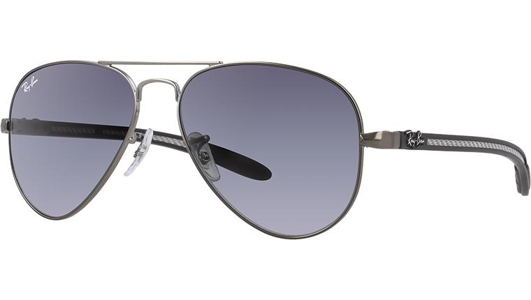 Ray-Ban 碳纖系列 RB8307 AVIATOR CARBON FIBRE 銀色框灰色鏡片 太陽眼鏡