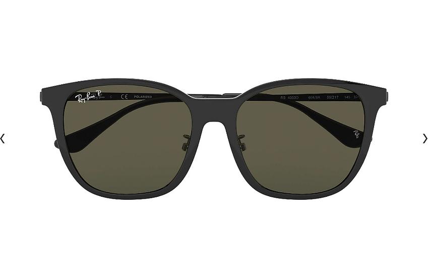 Ray-Ban RB4333D 黑框墨綠偏光鏡片 太陽眼鏡