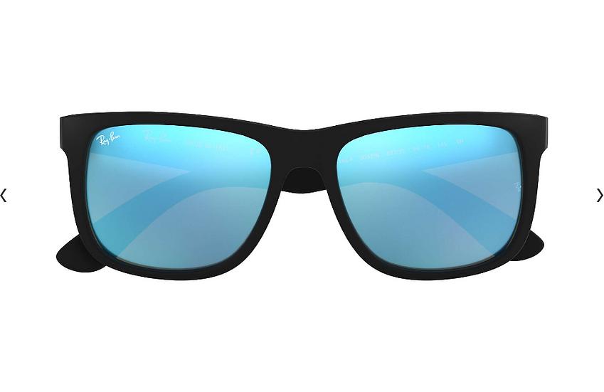Ray-Ban RB4165F 啞黑色框藍色水銀鏡片 Justin Color Mix Low Bridge Fit 太陽眼鏡