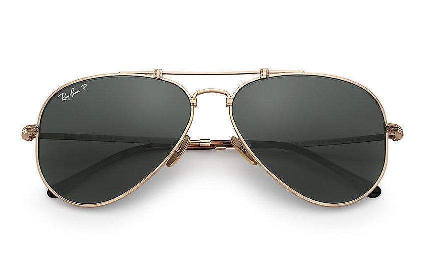 Ray-Ban RB8125M 金框經典墨綠色偏光鏡片 AVIATOR TITANIUM 鈦金屬偏光太陽眼鏡