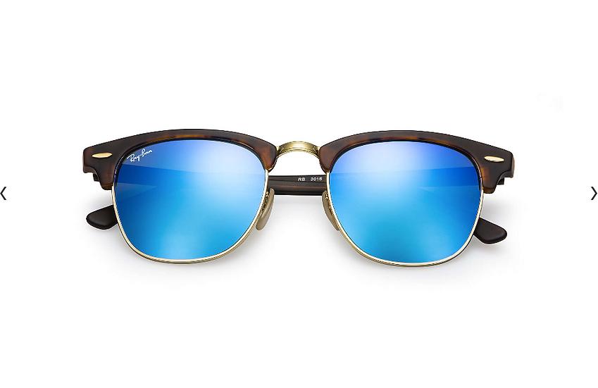 Ray-Ban RB3016 玳瑁啡色藍色水銀鏡片 Clubmaster Flash Lenses 太陽眼鏡