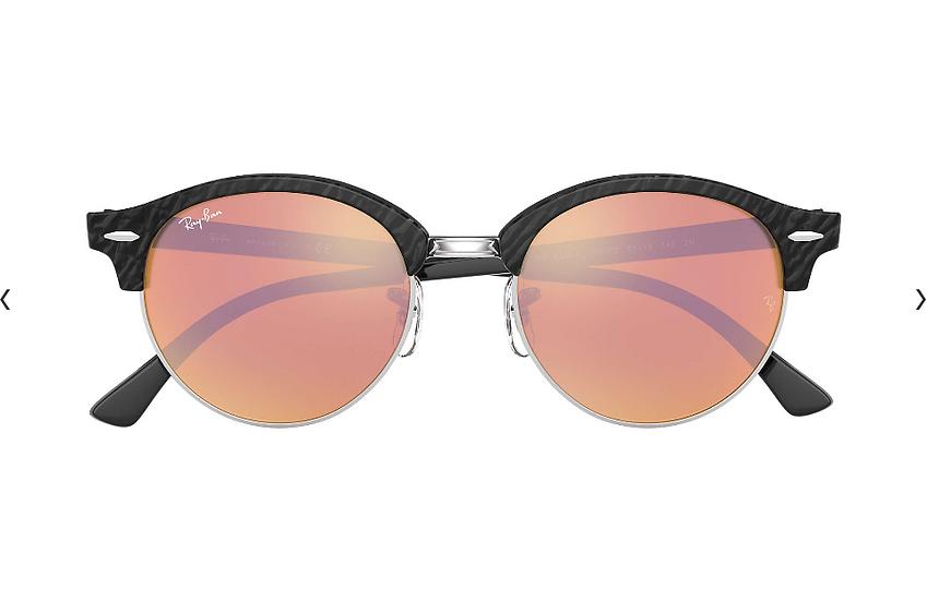 Ray-Ban RB4246 玳瑁黑色框銅色水銀鏡片 CLUBROUND FLASH LENSES 太陽眼鏡