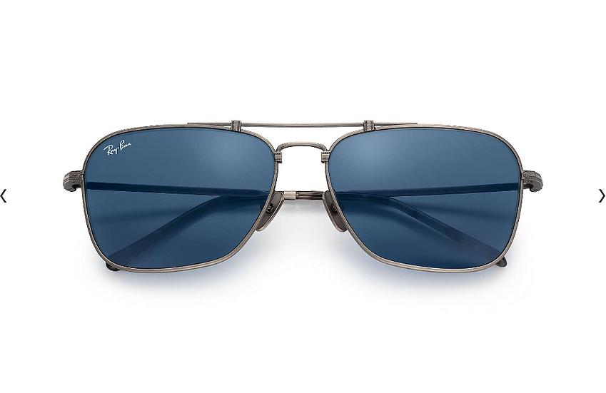 Ray-Ban RB8136 藍灰色框藍色鏡片 CARAVAN TITANIUM 鈦金屬太陽眼鏡
