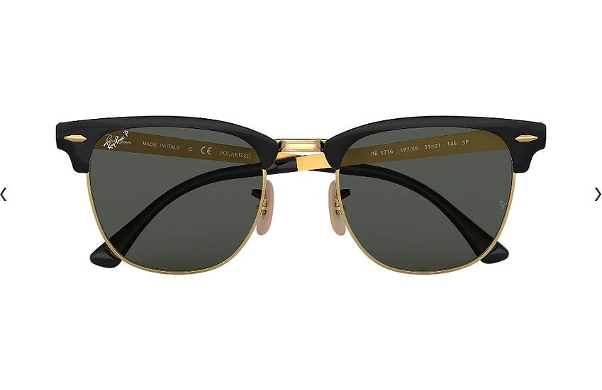 Ray-Ban RB3716 黑金框偏光墨綠色鏡片 CLUBMASTER METAL 太陽眼鏡
