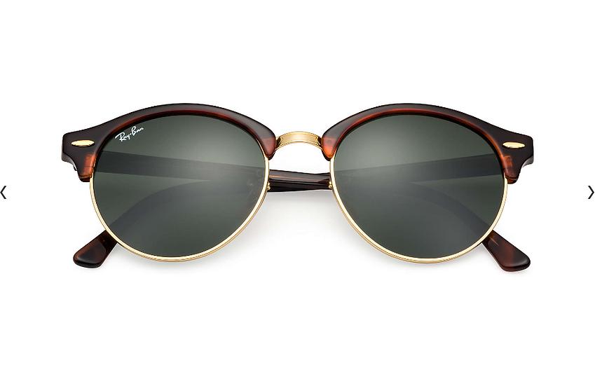 Ray-Ban RB4246 玳瑁啡色框墨綠色鏡片 CLUBROUND CLASSIC 太陽眼鏡