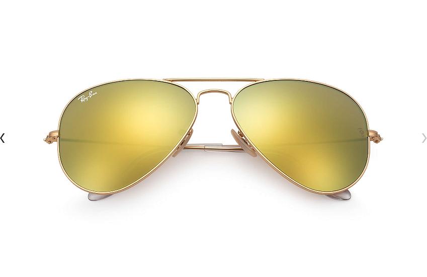 Ray-Ban RB3025 金框黃色水銀鏡片 Aviator Flash Lenses 太陽眼鏡