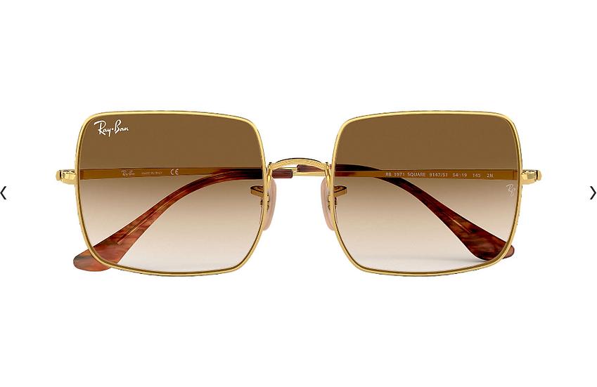 Ray-Ban RB1971 金框淺啡色漸變鏡片 SQUARE 1971 CLASSIC 太陽眼鏡
