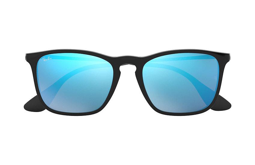 Ray-Ban RB4187F 啞黑色框藍色鏡片 Chris Low Bridge Fit 太陽眼鏡