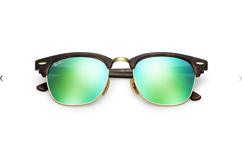 Ray-Ban RB3016 玳瑁啡色綠色水銀鏡片 Clubmaster Flash Lenses 太陽眼鏡