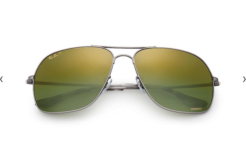 Ray-Ban RB3587CH  銀框綠色偏光鏡片 太陽眼鏡