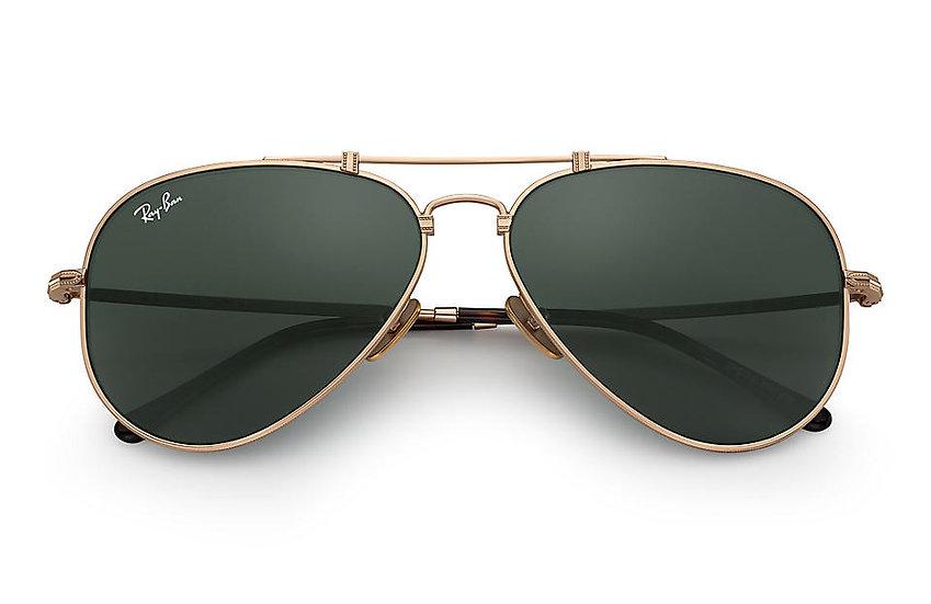 Ray-Ban RB8125 金框經典墨綠色鏡片 AVIATOR TITANIUM 鈦金屬太陽眼鏡