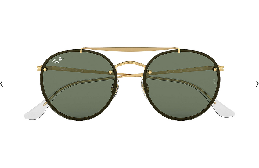 Ray-Ban RB3614N 金框墨綠色鏡片BLAZE ROUND DOUBLE BRIDGE 太陽眼鏡