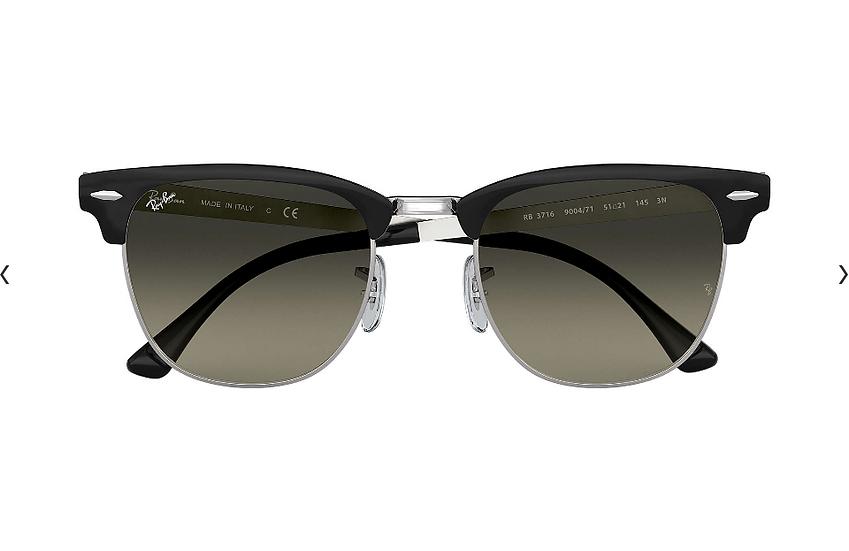 Ray-Ban RB3716 黑框灰色漸變鏡片 CLUBMASTER METAL 太陽眼鏡