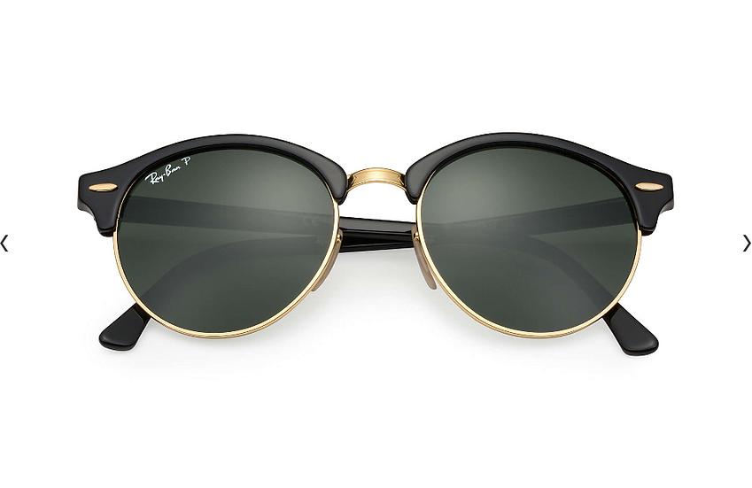 Ray-Ban RB4246 黑框偏光墨綠色鏡片 CLUBROUND CLASSIC 太陽眼鏡