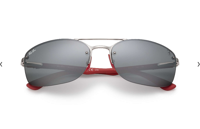 Ray-Ban X Scuderia Ferrari Limited Collection RB3617M 銀框灰色水銀鏡片 太陽眼鏡