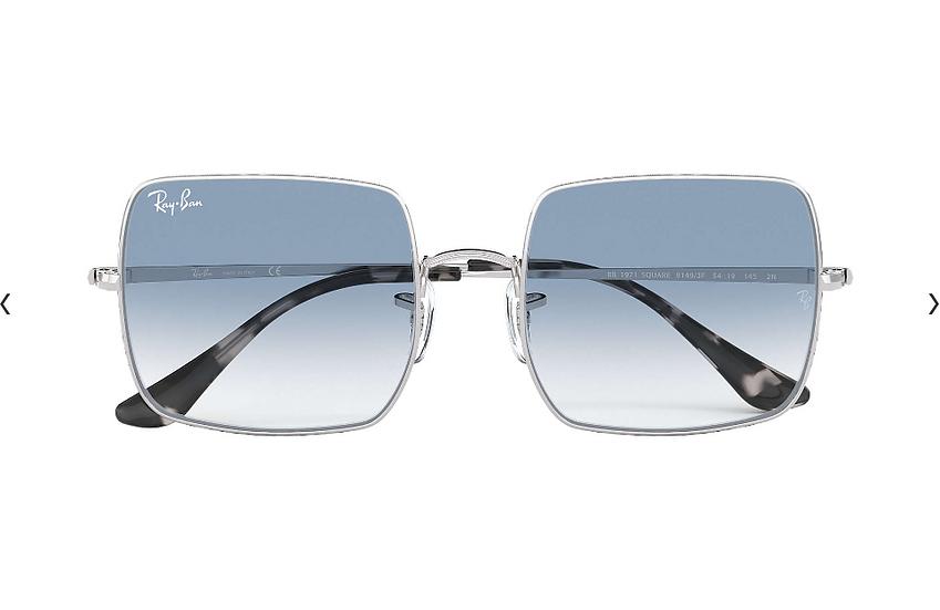 Ray-Ban RB1971 銀框淺藍色漸變鏡片 SQUARE 1971 CLASSIC 太陽眼鏡