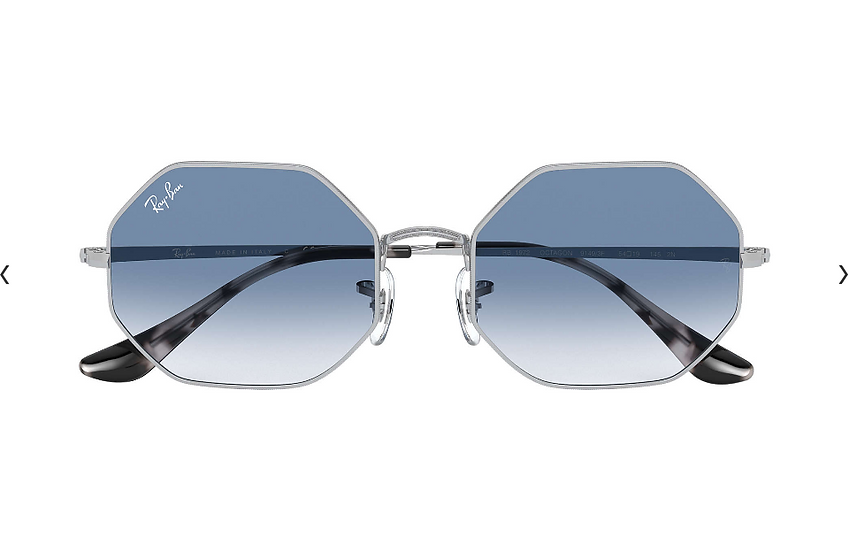 Ray-Ban RB1972 銀框淺藍色漸變鏡片 OCTAGON 1972 太陽眼鏡