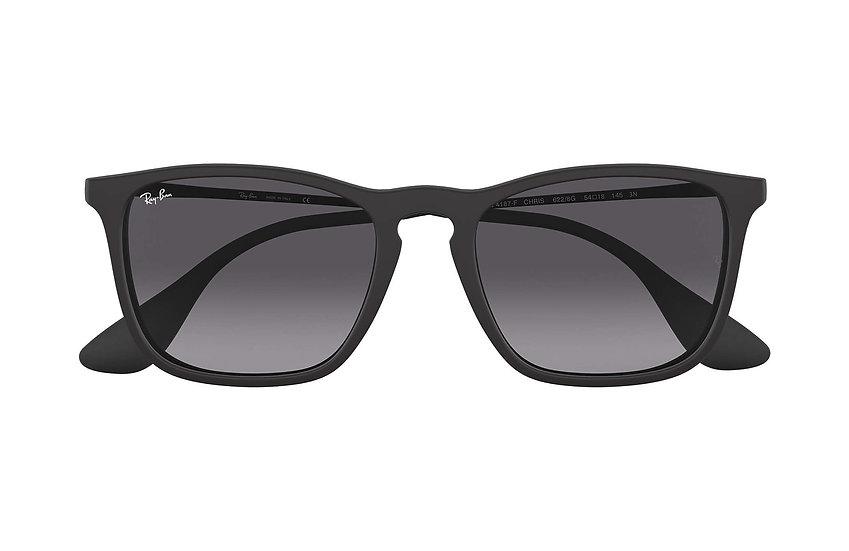 Ray-Ban RB4187F 啞黑色框灰色鏡片 Chris Low Bridge Fit 太陽眼鏡