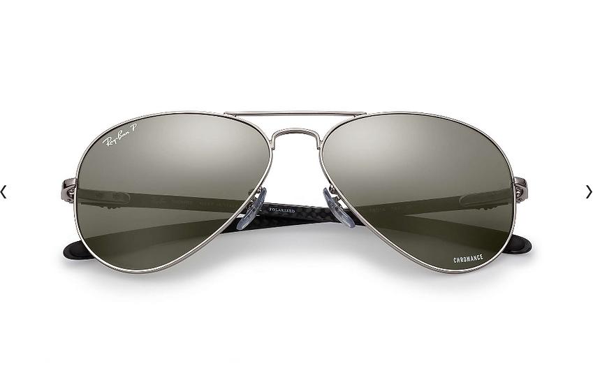 Ray-Ban 碳纖系列 RB8317CH 銀色框灰色偏光鏡片 太陽眼鏡