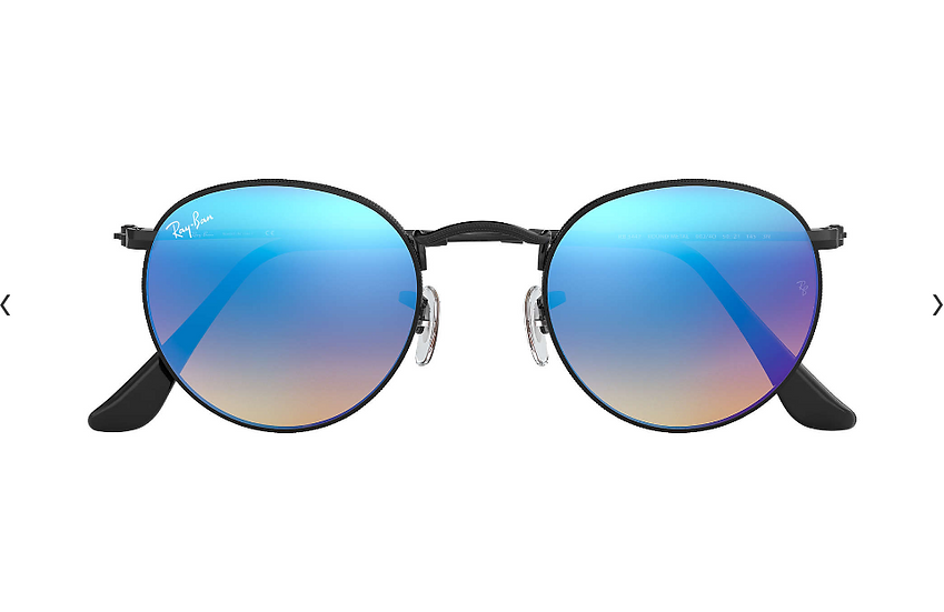 Ray-Ban RB3447 黑框藍色漸變閃光鏡片 ROUND FLASH LENSES GRADIENT 太陽眼鏡