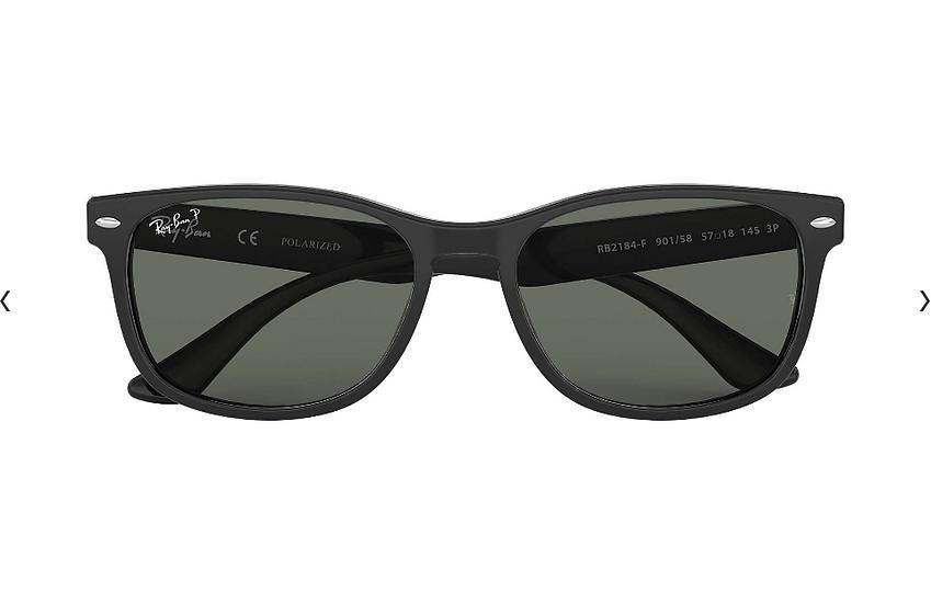 Ray-Ban RB2184F 黑框墨綠色偏光鏡片 太陽眼鏡