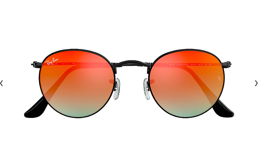 Ray-Ban RB3447 黑框橙色漸變閃光鏡片 ROUND FLASH LENSES GRADIENT 太陽眼鏡