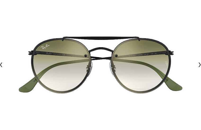 Ray-Ban RB3614N 黑框綠灰色漸變鏡片 BLAZE ROUND DOUBLE BRIDGE 太陽眼鏡