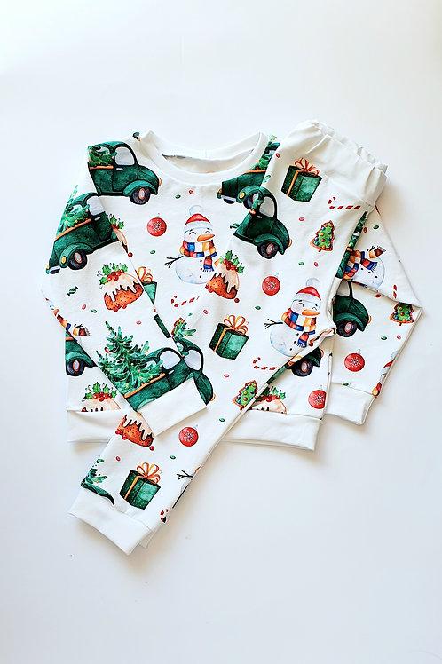 Green Truck and Tree Christmas Pyjamas