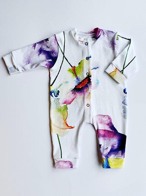 Watercolour Flowers Sleepsuit, Baby Grow