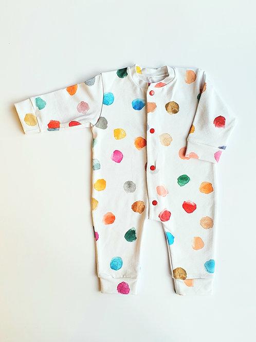 Watercolour Dots Baby Sleepsuit, Baby Grow