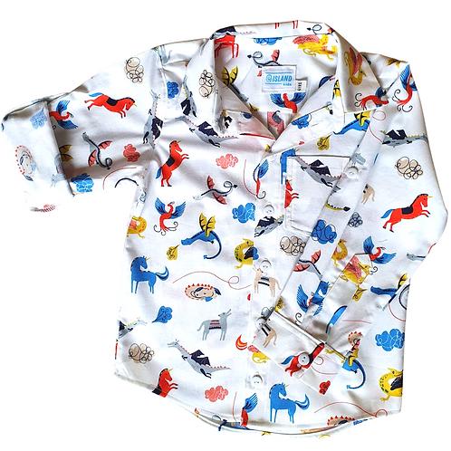 Roaring good yarn boys button up shirt