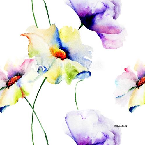 Watercolour flowers - Jersey