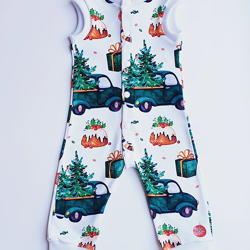 Green Truck and Tree Snap Up Romper