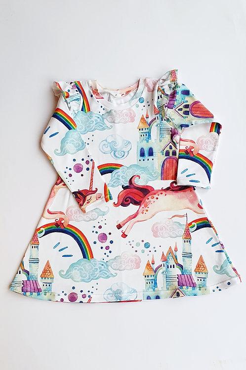 Unicorn Rainbow Castle in the Clouds Dress