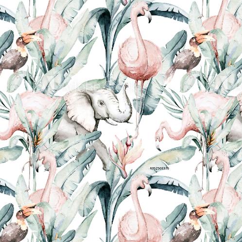 Jungle Flamingos and Elephant