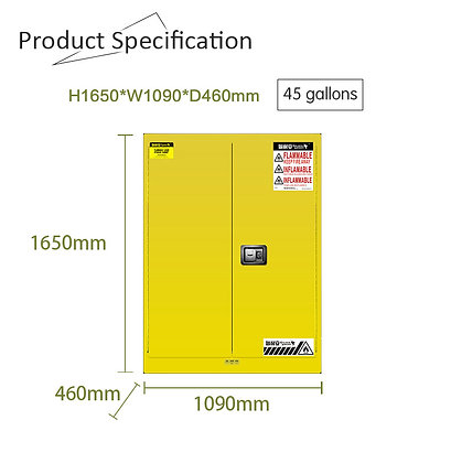 Flammable Safety Cabinet, 45 Gallons/170L