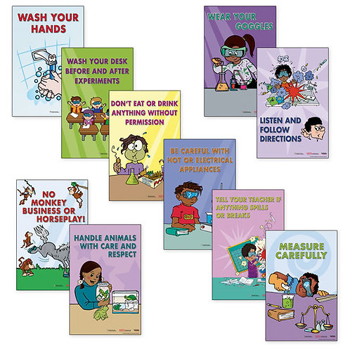 Laboratory Safety Posters, Set of 10