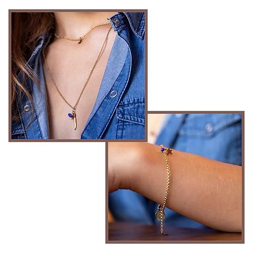 Bracelet PLEINE LUNE et collier PLUME D'ETOILE