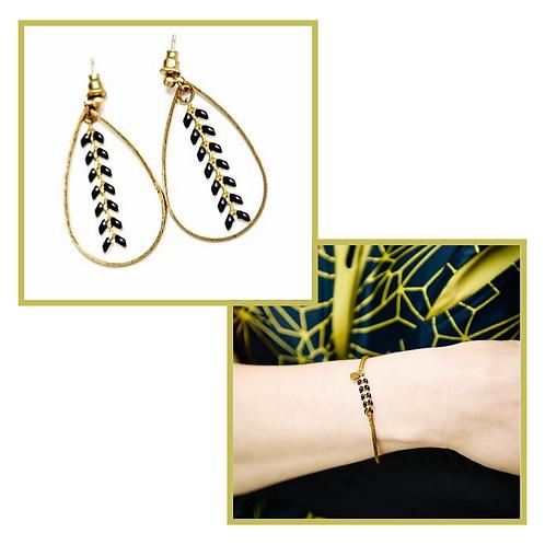 Boucles d'oreilles PERSEPHONE et Bracelet PANDORE