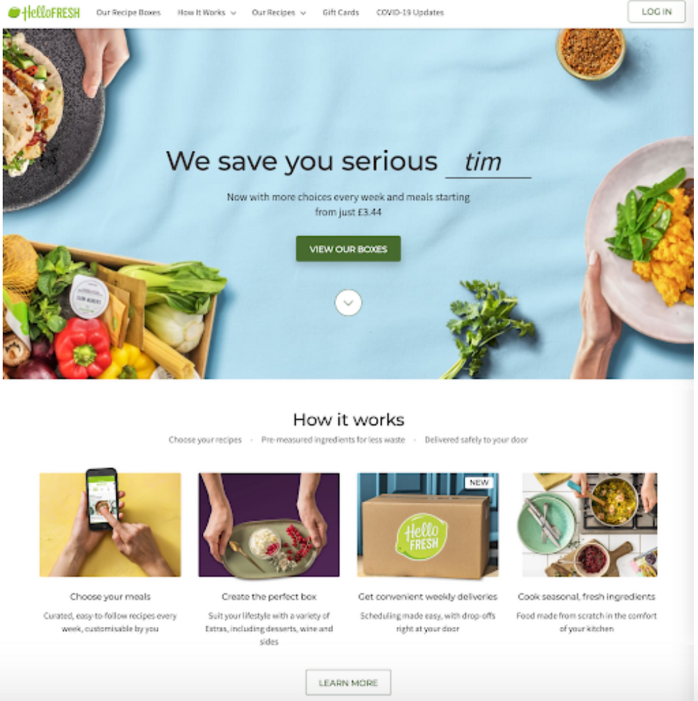 Hellofresh screenshot example of a highly converting landing page example