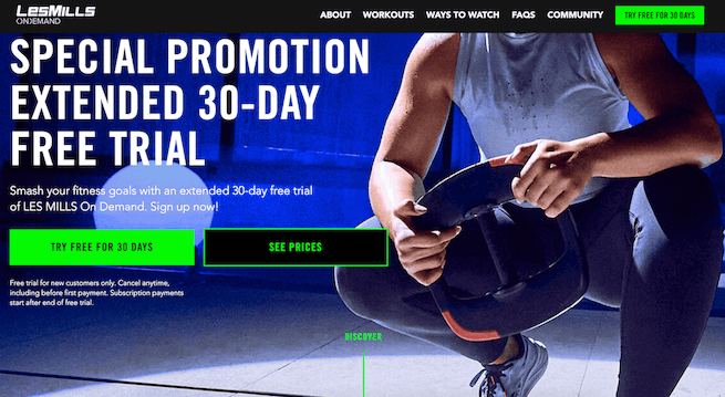 Les mills screenshot example of a highly converting landing page example