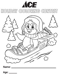 Ace Coloring Contest - Sledding Penguin.