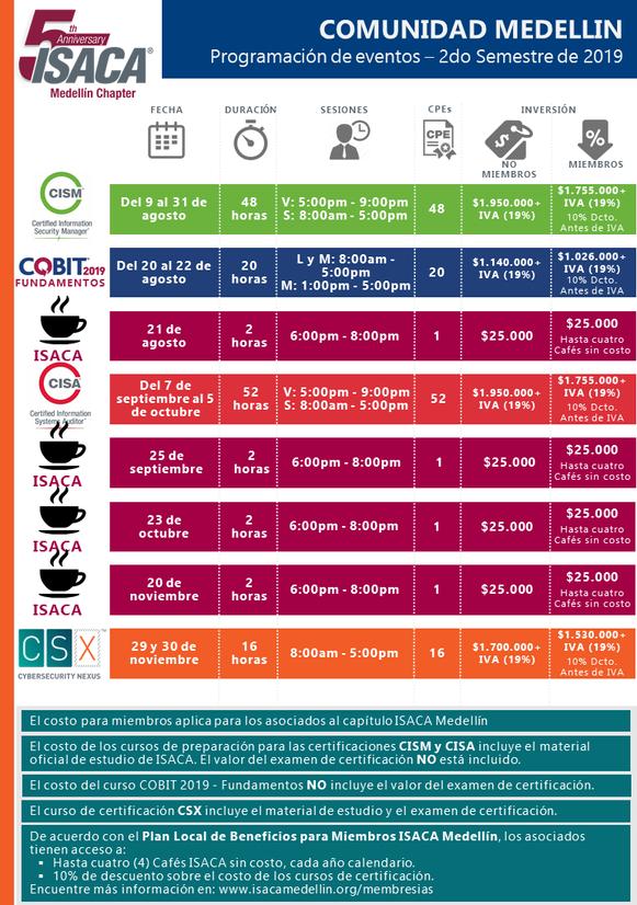 ACTUALIZACIÓN Agenda de Eventos Medellín Segundo Semestre 2019