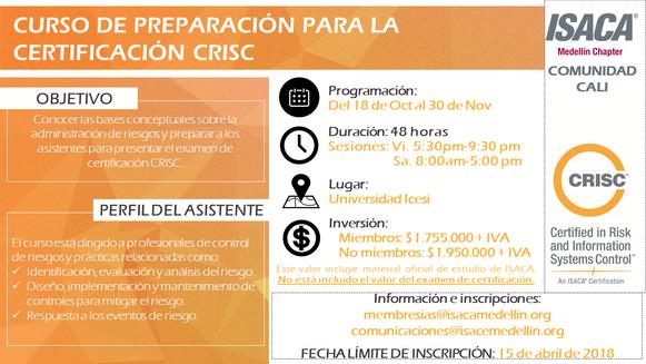 Curso para la preparación del examen de certificación CRISC Cali, Octubre / Noviembre 2019