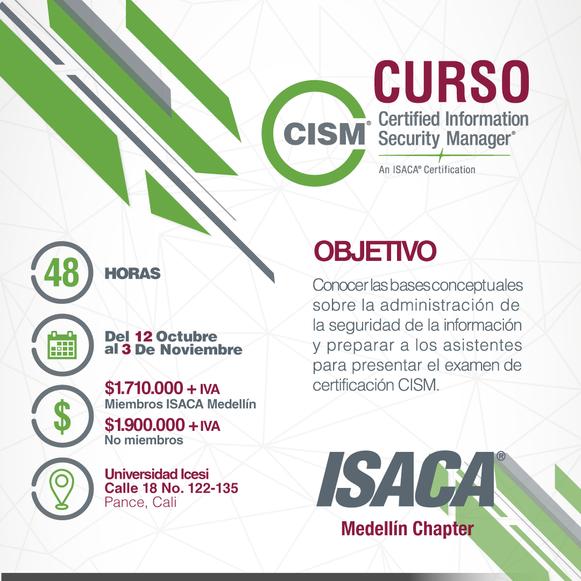 Curso para la preparación del examen de certificación CISM Cali - Octubre de 2018