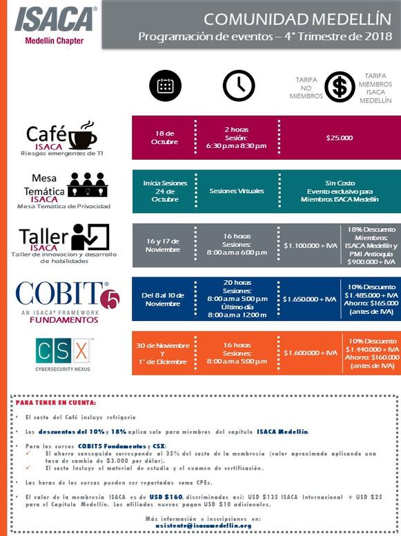 Programación de eventos Medellín