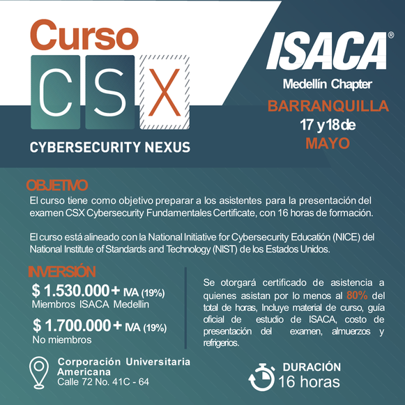 Curso Preparatorio CSX - Cybersecurity Fundamentals Barranquilla Mayo de 2019