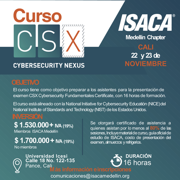 Curso Preparatorio CSX - Cybersecurity Fundamentals, Cali Noviembre 2019