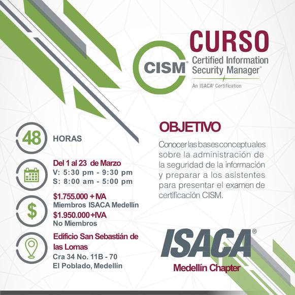 Curso de preparación para el examen de certificación CISM Medellín - Marzo de 2019